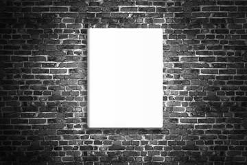 Blank poster hanging on brick black wall of broken painted brick, mock up