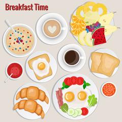 Breakfast set. Coffee, toasts, croissants, omellette, fruits, jam, oatmeal,  beans.