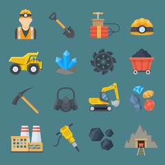 Minig industry flat icon set