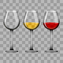 Realistic glass goblets with red and white wine and empty