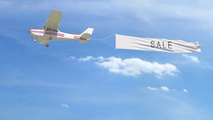 Small propeller airplane towing banner with SALE caption in the sky. 3D rendering