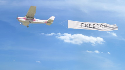 Small propeller airplane towing banner with FREEDOM caption in the sky. 3D rendering
