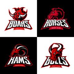 Furious boar, horse, ram, bull head isolated vector sport logo concept set.