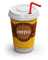 Plastic or paper coffee cup with straw