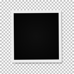 Realistic Photo frame on a transparent background. Stock vector