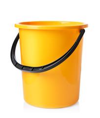 Yellow bucket isolated on white background