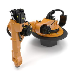 Orange robot arm for industry isolated on white. 3D Illustration
