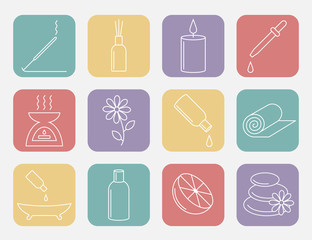 Essential Oil line icon. Aromatherapy oils set. Vector.