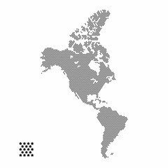 Vector Illustration of star dotted style North and South America map isolated on white background