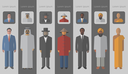 Set of flat people icons. Different race and religions