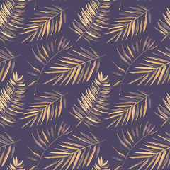 Seamless pattern with watercolor tropical palm leaves