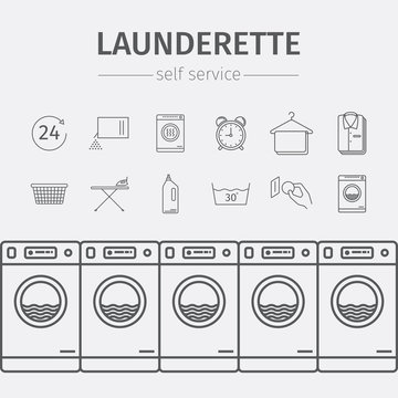 Self-service laundry icons.