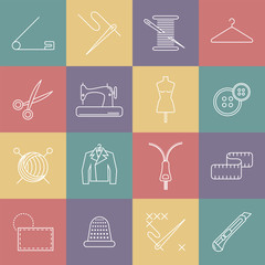 Sewing and needlework line icons.