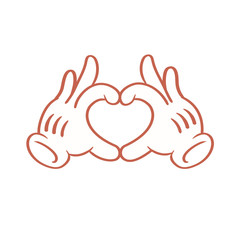 Cartoon animated gloved hands holding up an iconic cartoon heart/love sign hands emoticon.