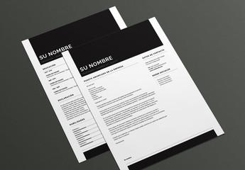 Diseño atrevido de currículum y carta de presentación