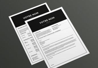 Modèle de CV et lettre de motivation- Standard