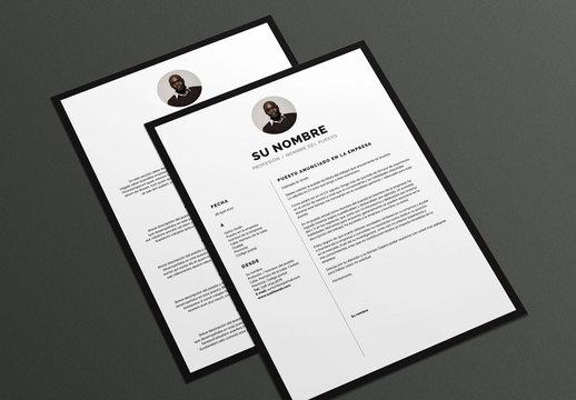 Diseño de currículum y carta de presentación con bordes