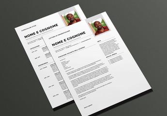 Layout curriculum vitae e lettera di presentazione moderno