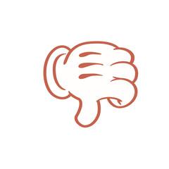 Cartoon thumbs down hand emoticon.