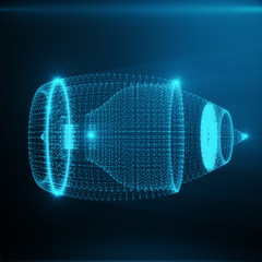 Abstract Jet Engine, Abstract Polygonal Consisting of Blue Dots and Lines. Jet Engine on Blue tint Background, 3D rendering