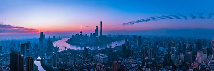 Aluminium Prints Shanghai Panorama of sunset with Shanghai city view