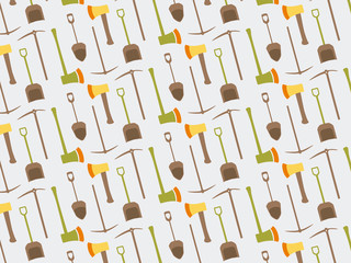 Pattern pitchfork rake shovel spade flat tool icon logo vector illustration. Set farming equipment background.
