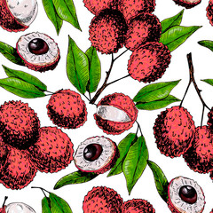 Vector hand drawn seamless pattern of isolated lychee. Engraved colored art. Delicious tropical vegetarian fruits.