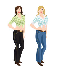 Vector illustration of young girls in jeans on white background.