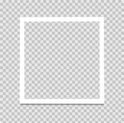 Realistic Photo frame on a transparent background. Vector