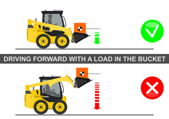 Skid steer loader safety tips. Driving forward with a a load. Flat vector.