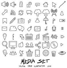 Media Doodle line icon vector set eps10