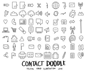 Contact Doodle icon line vector set eps10