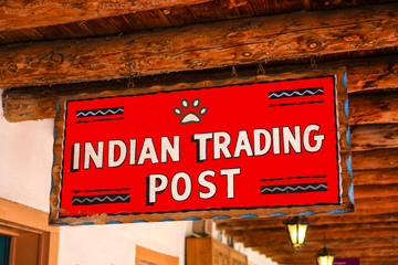 Antique Indian Trading Post overhead sign in Old Town Albuquerque NM
