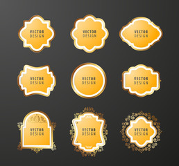 Set of High Quality Luxury Frames on Black Background . Vector Isolated Illustration