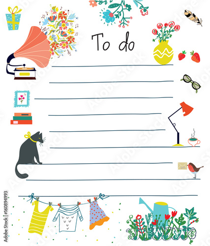 to do list cute design with flowers fotolia com の ストック画像と