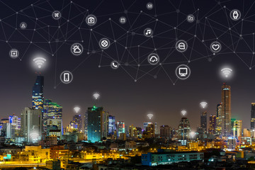 Digital global network in Smart city, Everything icon and wireless communication network, digital connecting world visual, internet of things (IoT) and Digital era. Marketing 4.0