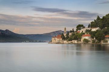 The Monastery Sveti Nikola at sunset (Korcula, Korcula Island, Dubrovnik-Neretva county, Dalmatia region, Croatia, Europe)