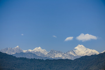 Kangchenjunga mountain that view in the morning in Sikkim, India