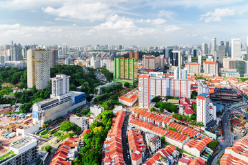 Foto op Plexiglas Singapore Top view of old townhouses and dormitory area of Singapore