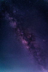 Landscape with Milky way galaxy. Night sky with stars. Long exposure photograph.