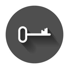Key vector icon. Key flat illustration with long shadow.