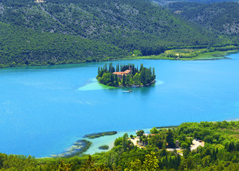 Visovac christian monastery on the island in The Krka National park, Croatia. Aerial view.