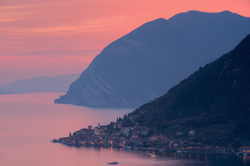 Sunset over Iseo lake, Brescia province, Italy, Lombardy district, Europe.