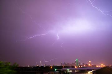 Lightning Electrical Storm Dallas Texas City Skyline