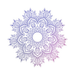 Hand drawn abstract mandala design. Vector oriental round pattern. Coloring book element.