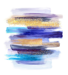 abstract watercolor brush strokes isolated on white background, paint smears, blue gold pastel palette swatches, modern wall art