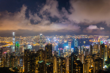 Hong kong china cityscape in the night from victoria peak