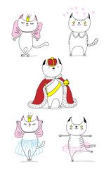 Funny cats: a cat in love with a beautiful princess, a king in a crown, dancing ballet