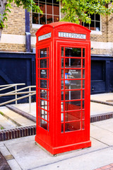 British Red telephone box in downtown Little Rock, Arkansas USA