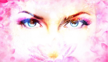 Woman eyes and lotus flower in cosmic background. Eye contact.